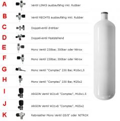 Stahlflasche 3 Liter SCHWARZ 300Bar